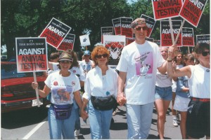 Linda at the March on Washington with James Cromwell and Julie
